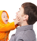 Baby playing with dad — Stock Photo