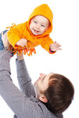 Father playing with baby — Stock Photo