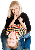 Cheerful boy and his mother — Stock Photo
