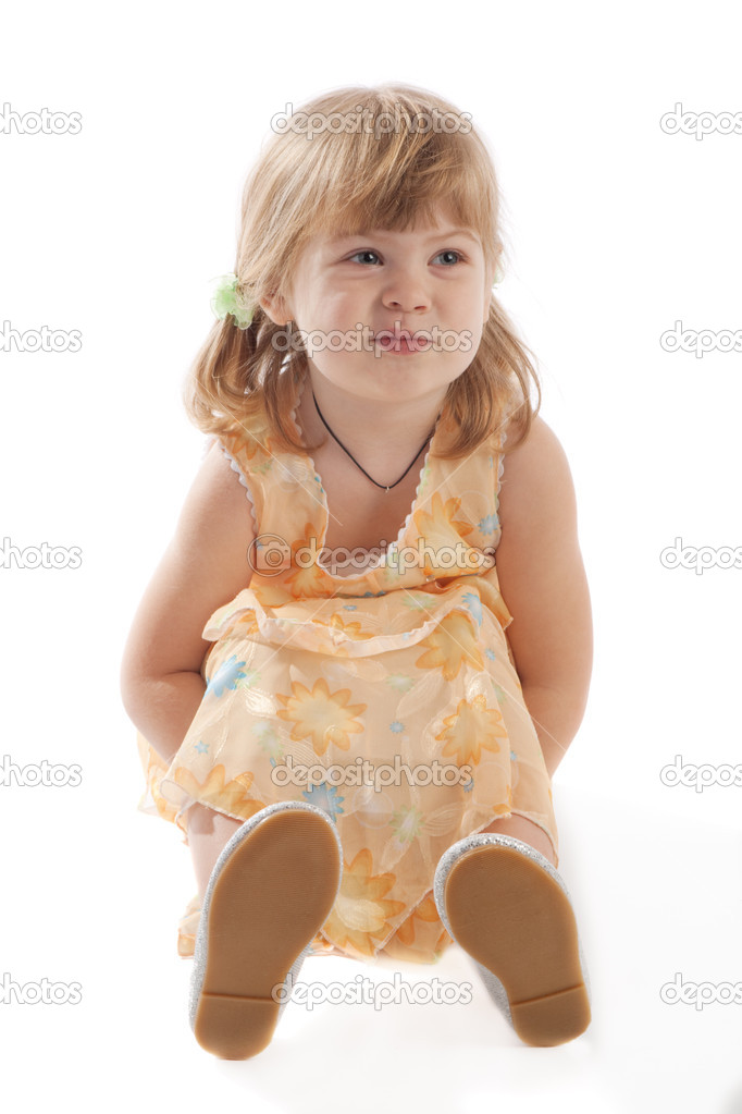 A lovely smiling preschooler, isolated — Stock Photo #5759154