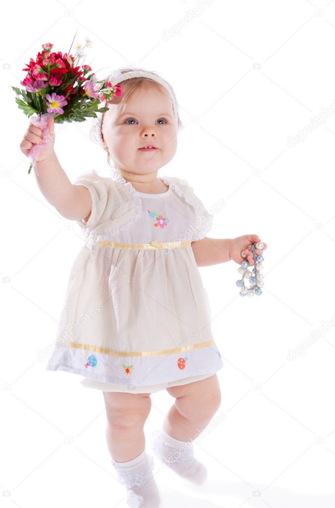 Cute little girl with bouquet of flowers, isolated  Stock Photo #5759518