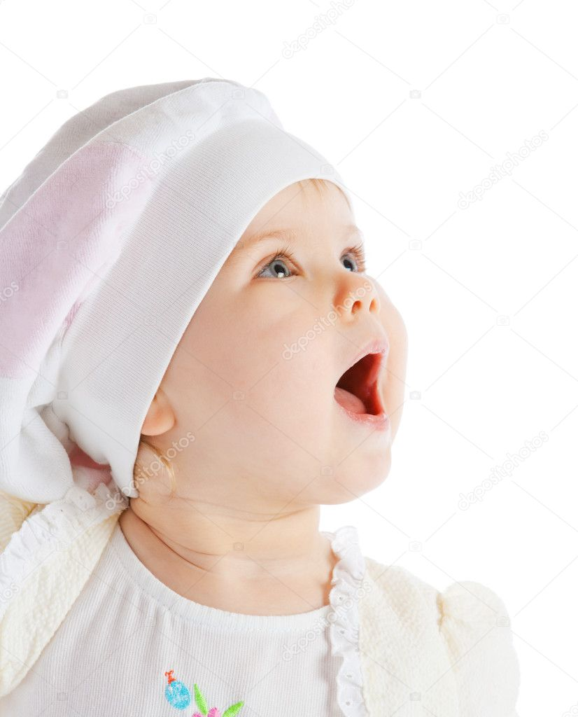 Portrait of a cute delighted baby girl, isolated — Stock Photo #5759562
