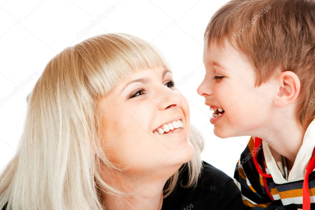 Portrait of mother and son, laughing — Stock Photo #5759971