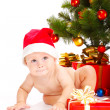 Stock Photo: Baby in Christmas hat