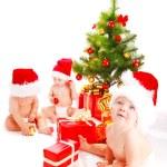 Santa babies — Stock Photo