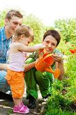 Family in garden — Stock Photo