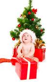 Astonished Christmas baby — Foto Stock