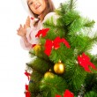 Decorating Christmas tree — Stock Photo #5770337