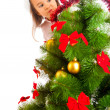 Behind Christmas tree — Stock fotografie