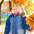 Girl with golden leaves — Stock Photo #5770525
