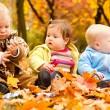 Babies in autumn park — Stock Photo