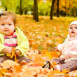 Baby girls on yellow leaves — Stock Photo