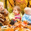 Autumn leaves and babies — Stock Photo