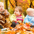 Royalty-Free Stock Photo: Autumn leaves and babies