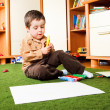 Boy with crayons — Stock Photo