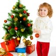 Toddler decorating Christmas tree — Stock Photo
