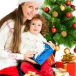 Beside Christmas tree — Foto Stock