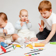 Kids and pencils - Stock Photo