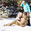 Stock Photo: Family in snow