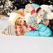 Stock Photo: Mother and little girl in snow