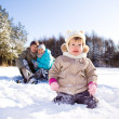 Royalty-Free Stock Photo: Winter toddler and her parents