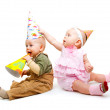 Kids in party hats — Stock Photo