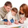 Parents drawing with son — Stok fotoğraf