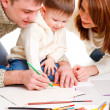 Parents drawing with son — Stock Photo