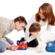 Kid and his parents playing — Stock Photo