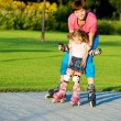 Stock Photo: First time in roller skates