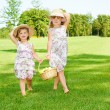 Little girls carrying fruit basket — Stock Photo #5775016