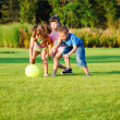 Kids catching the ball — Stock Photo