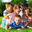 Preschool friends playing — Stock Photo