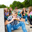 Students with fast food — Stock Photo #5775271