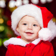 Baby boy in Santa hat — Stockfoto