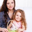 Stock Photo: Mother and daughter with Easter bunny