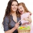 Holding Easter basket — Stock Photo