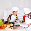 Stock Photo: Two little cooks
