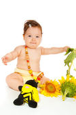 Zonnebloem baby — Stockfoto