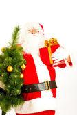 Santa with present and christmas tree — Stock Photo