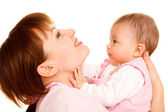 Happy mother holding baby — Stock Photo