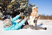 Playing on snow — Stock Photo