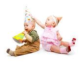 Bambini in cappelli di partito — Foto Stock