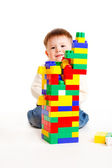 Toddler building — Stock Photo