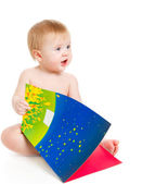 Baby with book — Stock Photo