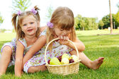 Kids with fruit — Stock Photo