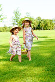 Kids carrying basket with fruit — Stock Photo