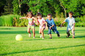 Kids group playing with ball — Stock Photo