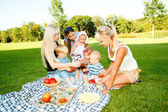 Mothers and kids having picnic — Stock Photo