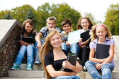 Teenagers with books — Stock Photo